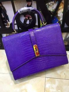Hurry Up!2015 Hermes Handbag Outlet With Free Shipping-Hermes lizard Embossed Leather Handbag in Purple