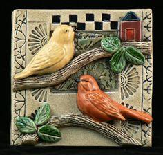 Ceramic Tile ,Two Birds via Etsy by TilebyFire