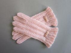 Knit Gloves Soft Pink Lace Gloves Blush Gloves Hand Knit Gloves Womens Gloves…