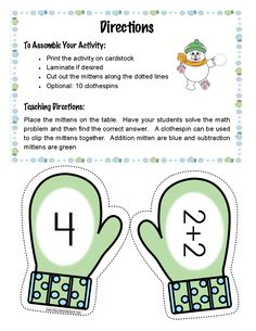 Kindergarten: FREE mitten match activity for addition facts to 10. Great center activity!