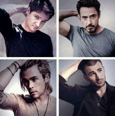 Chris Evans, Robert Downey Jr., Chris Hemsworth, and Jeremy Renner.