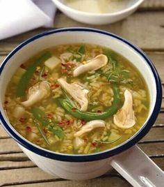 Sopa de arroz y cetas