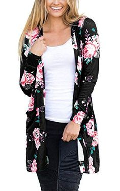 8ea603dc2a590 Autumn 2017 New Women Outerwear Long Sleeve Flowers printed Cardigan Coat  Pocket Casual Open Stitch sweater Outwear