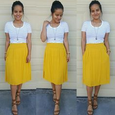 Stripes and Mustard! #churchoutfits