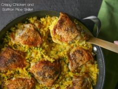 "<a href=""http://www.tasteslovely.com/crispy-chicken-and-saffron-rice-skillet/"" target=""_blank"">Crispy Chicken and Saffron Rice Skillet</a>"