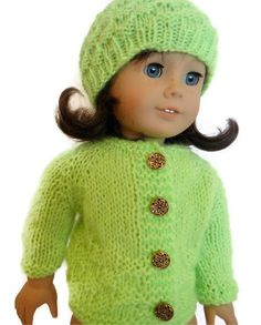 Sweater and Hat Set Lime Green Knit American by PreciousBowtique, $15.00