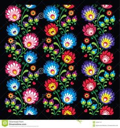 Folk Embroidery Patterns Seamless long Polish folk art pattern wzory lowickie wycinanka Stock Vector - - Millions of Creative Stock Photos, Vectors, Videos and Music Files For Your Inspiration and Projects. Hungarian Embroidery, Folk Embroidery, Learn Embroidery, Embroidery Patterns, Bordado Popular, Polish Folk Art, Bordado Floral, Illustration Blume, 1 Tattoo
