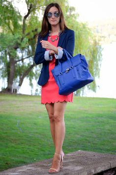 Scalloped dress and blazer with neutral shoes. So cute