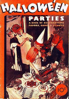 Cover of a 1934 book on Halloween parties (oh how I'd love to come across an affordable copy of this!).