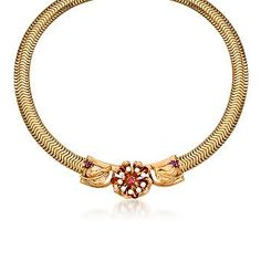 """Ross-Simons - C. 1950 Vintage Tiffany Jewelry .65 ct. t.w. Ruby and .75 ct. t.w. Diamond Necklace in 14kt Two-Tone Gold. 15"""" - #767680"""