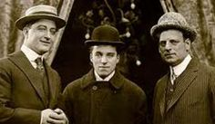 Francis X. Bushman, Charlie Chaplin and Broncho Billy Anderson (Photograph: Chicago History Museum) Golden Age Of Hollywood, Vintage Hollywood, Classic Hollywood, Classical Hollywood Cinema, Charles Spencer Chaplin, Chicago History Museum, Chicago Magazine, White City, Charlie Chaplin