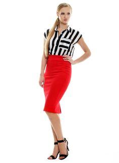 Spódnica czerwień, http://modomania.o12.pl/jak-nosic-spodnice-olowkowa/