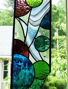 Stained Glass Crazy About Circles Panel by miloglass on Etsy, $42.00