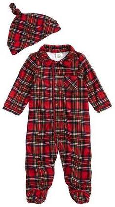 Infant Boy s Little Me Plaid Footie Pajamas  amp  Hat Set - baby s first  christmas Increase cc1bcb4d4