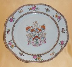 CHINESE EXPORT PORCELAIN ARMORIAL PLATE -  UNIDENTIFIED ENGLISH  ARMS, C1750-1780