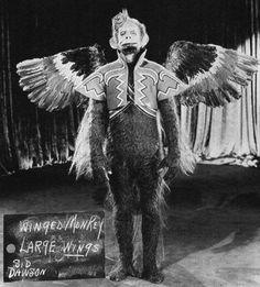 Flying monkey wardrobe test.  Wizard of Oz, 1939.