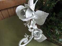 Metal Wall Candle Holder White Floral Iron Candle by LazyYVintage