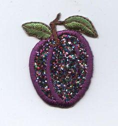 Iron On Embroidered Applique Patch Fruit Sparkle Glitter Purple Plum