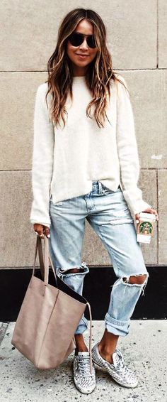 #sincerelyjules #spring #summer #besties | White Knit   Ripped Denim