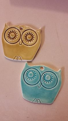Who-ooot wants one of these beautiful owls? handmade ceramic Christmas tree decorations.