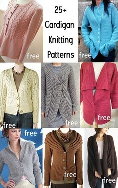 Cardigan Knitting Patterns with many free cardigan sweater knitting patterns