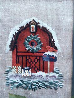 Raspberry Patch Birdhouse Series #3,  A Little Bit of Christmas, Birdhouse Barn, Counted Cross Stitch Pattern Leaflet