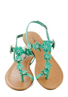 Hey beach brides! What about these   turquoise sandals for your wedding?    Garden Garland Sandal in Turquoise -   Blue, Flower, Beach/Resort, Fairytale, Summer, Flat, Faux   Leather