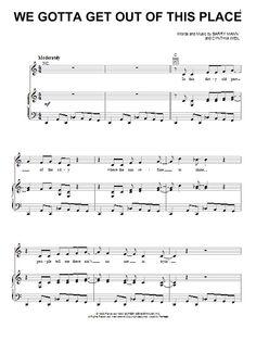 Carole King: We Gotta Get Out Of This Place - Partition Piano Voix Guitare (Mélodie Main Droite) - Plus de 70.000 partitions à imprimer !
