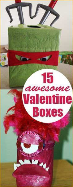 15 Valentine Boxes.  Valentine boxes the kids will love.  Fun character Valentine boxes everyone will admire.