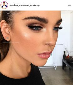 smokey shimmer, peach li, bronzy dewy skin, winged liner and brushed up brows