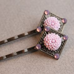 Antiqued Brass Hair Pins  One Pair  Flower  by HandmadeShoppe (Accessories, Hair, Bobby Pin, antiqued brass, hairpin hair pin, hair accessories, flower, swarovski crystals, purple, lavender, sparkle, bridal party, bridesmaid, brides maid, square, wedding)