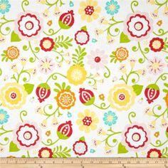 Riley Blake Simply Sweet Large Floral White. Designed by Lori Whitlock for Riley Blake Designs