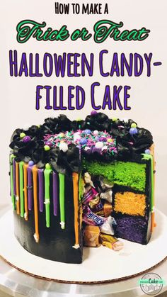 """Easy and fun candy-filled Halloween cake! Bright Halloween-colored cake layers, black chocolate frosting and a colored candy melt drip - packed with Halloween candy that spills out when you cut the cake! cake Halloween Candy-filled """"Trick or Treat"""" Cake Halloween Desserts, Halloween Cupcakes, Comida De Halloween Ideas, Halloween Torte, Halloween Goodies, Halloween Food For Party, Halloween Treats, Halloween Halloween, Halloween Cake Decorations"""