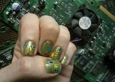 Nails painted with a printed circuit board motif - Boing Boing