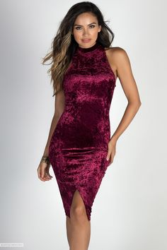 Sexydresses.com Bodycon Sleeveless Turtleneck Burgundy Crushed Velvet Notch Hem Midi Dress
