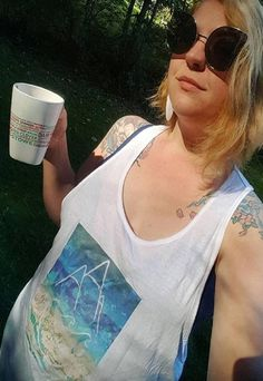 Amanda Rose wearing our Across The Board  'Snow' UNISEX racer back Vest top.