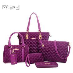 Prese di fabbrica bolsos mujer Classico di lusso 6 set moda Reticolo Del Diamante delle donne del panno di Oxford in pelle borsa tracolla messenger
