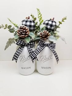 Fall Centerpiece Buffalo Plaid Mason Jars Black and White Pumpkins Rustic Fall Black and White Fall Decor Mason Jar Crafts, Mason Jar Diy, Fall Mason Jars, Christmas Mason Jars, Christmas Pumpkins, Quart Size Mason Jars, Rustic Mason Jars, Christmas Ornaments, Diy Christmas Gifts