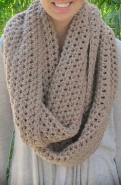 Taupe  Extra Bulky Crochet Infinity Scarf Cowl by CrochetsbyShell, $45.00