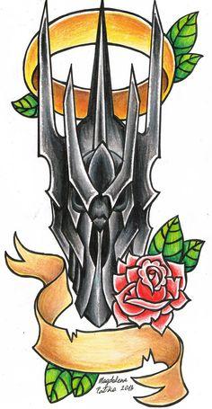 24 besten Ideen Tattoo Old School Hand Tat tattoO Tolkien Tattoo, Lotr Tattoo, Real Tattoo, Desenhos Old School, Lord Of The Rings Tattoo, Tattoo Designs, Fantasy Tattoos, Hand Tats, Traditional Tattoo Flash