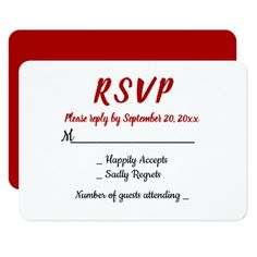 Red Burgundy RSVP WEdding Party Fall Country Card - wedding invitations cards custom invitation card design marriage party
