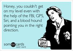 Honey, you couldn't get on my level even with the help of the FBI, GPS, Siri, and a blood hound pointing you in the right direction.