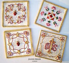 Version française Dear visitors, Welcome into the world of JEANNE PERLIER ! You will find on this website the embroidered creations JEANNE PERLIER. Here are at first some liturgical palls of the co…