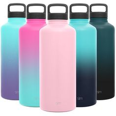 The Simple Modern Summit Water Bottle with Handle Lid is made from double walled, vacuum insulated 18/8 stainless steel, keeping your water cold for hours. The bottle comes with two leak proof lids, a stainless steel cap and a strong, heavy duty handle lid for easy carrying. These bottles are the ultimate way to take ice cold water with you and stay hydrated throughout your day. Size: 84 oz. Color: Pink. 5 Gallon Water Bottle, Flask, Blush Pink, Stainless Steel, Stay Hydrated, Simple, Modern, Bottles, Handle