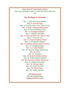 25 Days of Christmas #instagram Challenge - I want to do this! Anyone else want to join me? Christmas Challenge, 25 Days Of Christmas, Little Christmas, Christmas Photos, Diy Christmas, Christmas Ornaments, Favorite Holiday, Holiday Fun, Festive