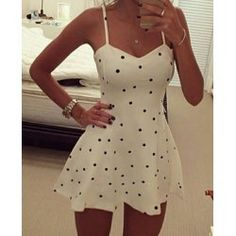 Sexy Spaghetti Strap Polka Dot Women's Dress