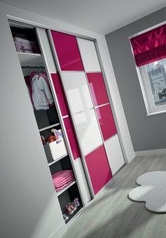 kazed portes de placard coulissantes karacter 3 verres laqu s blanc pur et bleu nuit. Black Bedroom Furniture Sets. Home Design Ideas