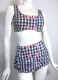 Gingham Gidget Blue  White Bikini circa 1960s - Dorothea's Closet Vintage