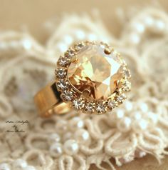 Hand Made 14k Yellow #Gold Plated Cocktail #ring With Swarovski Crystal Round #Cocktail