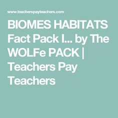 BIOMES HABITATS Fact Pack I... by The WOLFe PACK   Teachers Pay Teachers